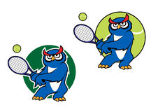 Sporting emblem with owl playing tennis Stock Images