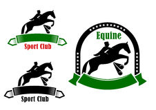 Sporting emblems of equestrian club Royalty Free Stock Images