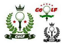 Sporting emblems with golf ball on tee Royalty Free Stock Images
