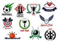 Sporting emblems, icons and symbols. Sporting emblems for competitions in football or soccer, basketball, hockey, volleyball, golf, billiards, bowling, darts and Royalty Free Stock Image