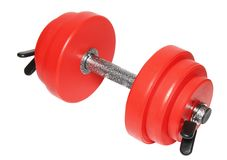 A sporting equipment. Two red dumbbells. Isolated over white Royalty Free Stock Photos