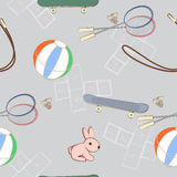 Sporting equipment with a little pink rabbit Royalty Free Stock Images