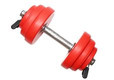 A sporting equipment - single red dumbbells. Stock Image