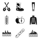 Sporting event icons set, simple style Stock Photography