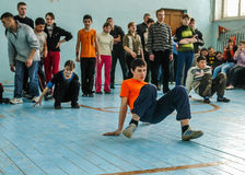 Sporting events at the school of the Kaluga region in Russia. In Russian secondary schools in gymnasiums are often held sports competitions between students of Stock Photo