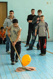 Sporting events at the school of the Kaluga region in Russia. In Russian secondary schools in gymnasiums are often held sports competitions between students of Royalty Free Stock Photography