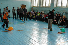 Sporting events at the school of the Kaluga region in Russia. In Russian secondary schools in gymnasiums are often held sports competitions between students of Royalty Free Stock Photos