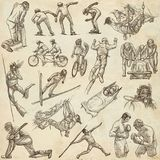 Sporting Events, Sport Mix - An hand drawn collection on old pap. An hand drawn collection. Sporting Events, SPORT Mix. Pack on old paper. Full sized hand Royalty Free Stock Image