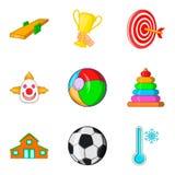 Sporting game icons set, cartoon style Stock Photos