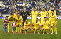 Sporting Gijon lineup. Before a Spanish League match against RCD Espanyol at the Power8 stadium on October 3 2015 in Barcelona Spain Stock Image