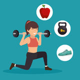 Sporting girl lunge squat weight barbell icons. Vector illustration eps 10 Stock Images