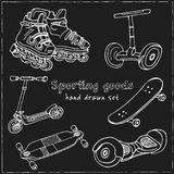 Sporting goods Hand drawn doodle set. Sketches. Vector illustration for design and packages product. Sporting goods Hand drawn doodle set. Vector illustration royalty free illustration