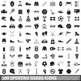 100 sporting goods icons set, simple style. 100 sporting goods icons set in simple style for any design vector illustration royalty free illustration