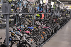 Sporting goods store bikes Royalty Free Stock Photo