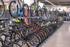 Sporting goods store bikes. Bicycles for sale in a sporting goods store Stock Images