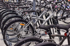 Sporting goods store bikes Royalty Free Stock Photos