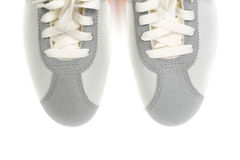 Sporting gray shoes Royalty Free Stock Photography