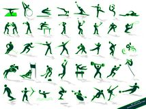 Sporting green silhouettes, Royalty Free Stock Photography