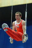 Sporting gymnastics. Bulavski Pavel executes exercise on rings Stock Images