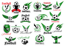 Sporting icons for football or soccer game design Royalty Free Stock Photography