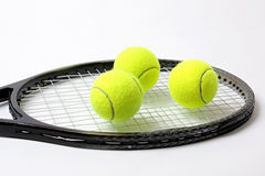 Sporting inventory. Tennis racket with balls Stock Image