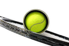 Sporting inventory. Tennis racket with balls Royalty Free Stock Images