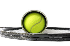 Sporting inventory. Tennis racket with balls Stock Images