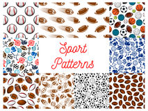 Sporting items, game equipment seamless patterns Royalty Free Stock Photo