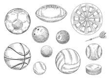 Sporting items sketches for sport game design Stock Photo