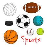 Sporting items for team games colored sketches Stock Image
