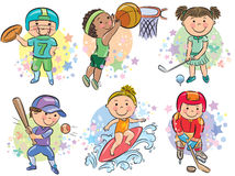 Sporting kids. Contains transparent objects. EPS10 Royalty Free Stock Image