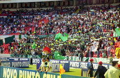 Sporting lisboa fans. The supporters of the sporting lisboa team at benfica for the derby of lisbon in portugal Stock Image