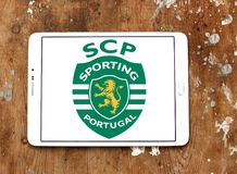 Sporting Lisbon football club logo. Logo of Portuguese Sporting Lisbon football club on samsung tablet Royalty Free Stock Photo