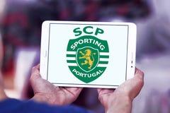 Sporting Lisbon football club logo. Logo of Portuguese Sporting Lisbon football club on samsung tablet Stock Images