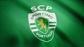 USA - NEW YORK, 12 August 2018: Sporting Portugal flag is waving. Waving flag with Sporting Portugal football club logo stock illustration