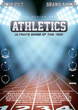 Sporting poster of athletics. Arena and spotlights with text and signs. Affiche and announcement. Editable Vector Illustration Royalty Free Stock Photography