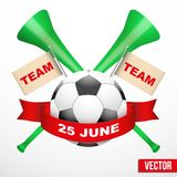 Sporting Poster with Soccer Ball. Stock Images