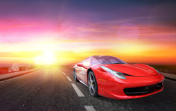 Sporting Race Car At Sunset Royalty Free Stock Images