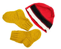 Sporting a red cap and yellow knitted woolen socks isolated on white background Stock Images