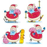 Sporting Santa. In four different poses Stock Images