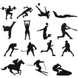 Sporting silhouettes of men Royalty Free Stock Image