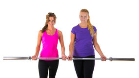 Sporting together. Two girl friends are sporting together Stock Image