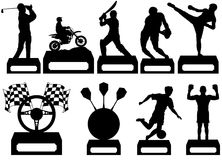 Sporting Trophys. Illustration of nine Sporting Trophy's Royalty Free Stock Images