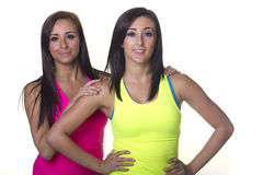Sporting twin sisters Stock Photography