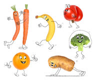 Sporting vegetable and fruits. Vegetable and fruits with healthy and sporting background Stock Photography