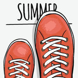 Sportingly colorful poster to advertise sports shoes. Go in the summer. Vector. Illustration Stock Photos