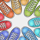 Sportingly colorful poster to advertise sports shoes. Vector. Illustration Royalty Free Stock Images