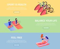 Sportish Horizontal Banners Set with Copy Space. Athletic Girl Training in Gym Jogging Trademill in Fitness Center. Man and Woman Doing Yoga. Bicycles vector illustration