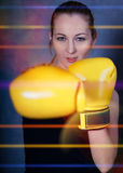 Sportish woman in boxing gloves Stock Photo