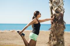 Sportiva giovane che pende contro l'allungamento dell'albero Immagini Stock Libere da Diritti